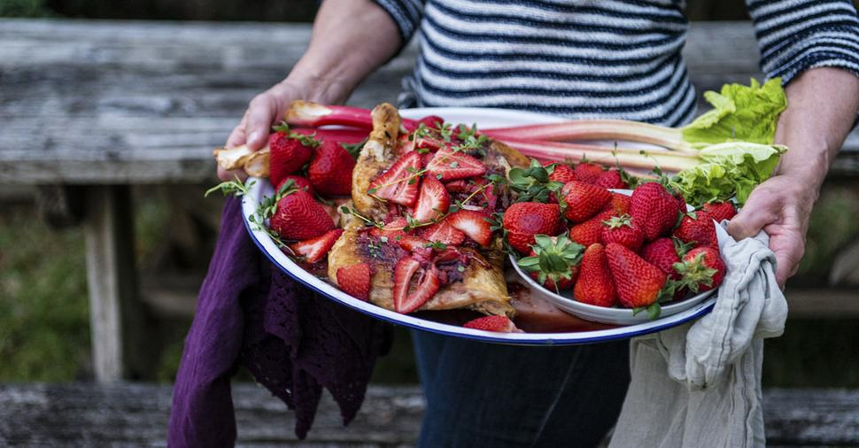 Cast Iron Roasted Chicken with Strawberry Rhubarb Balsamic Glaze
