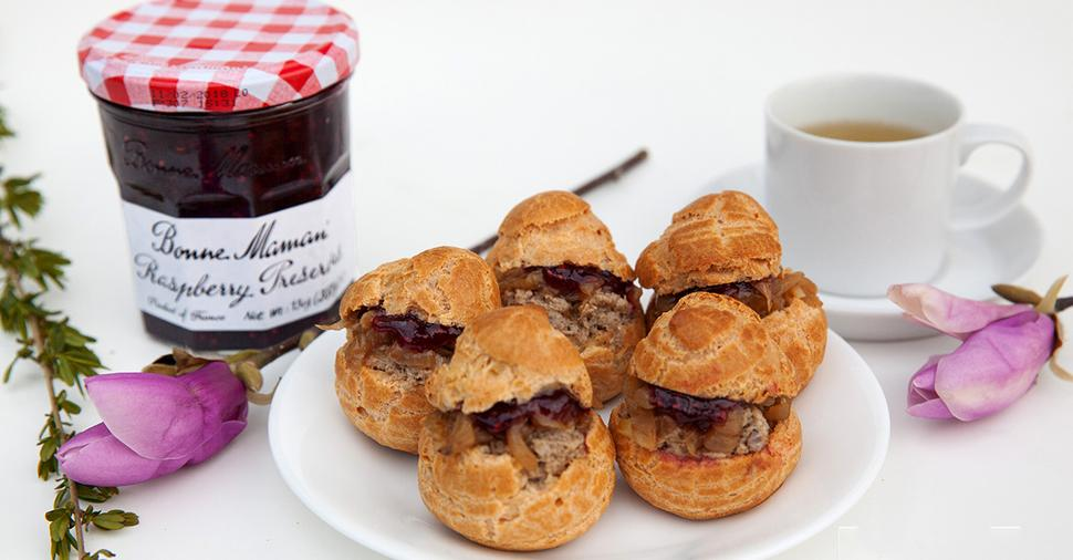Savory Choux Pastry, Pate With Bonne Maman Raspberry Preserves